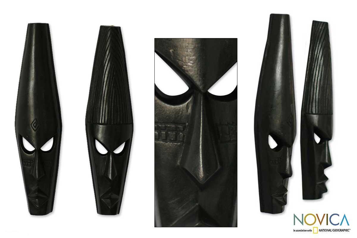 Set of 2 Handcrafted Sese Wood 'Fighting Spirit' Masks (Ghana)