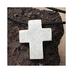 Men's Silver 'Southern Cross' Leather Necklace (Peru)
