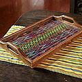 Wood and Cotton 'Maya Mystique' Serving Tray (Guatemala)