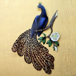 Handmade Steel Sapphire Peacock Wall Sculpture (Mexico)