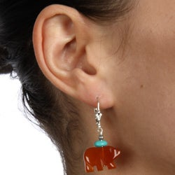 Southwest Moon Sterling Silver Red Agate and Turquoise Bear Earrings