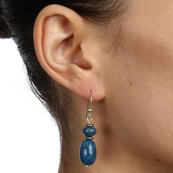 Southwest Moon Sterling Silver Lapis Nugget Earrings