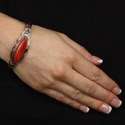 Southwest Moon Copper Marquise Sponge Coral Cuff Bracelet