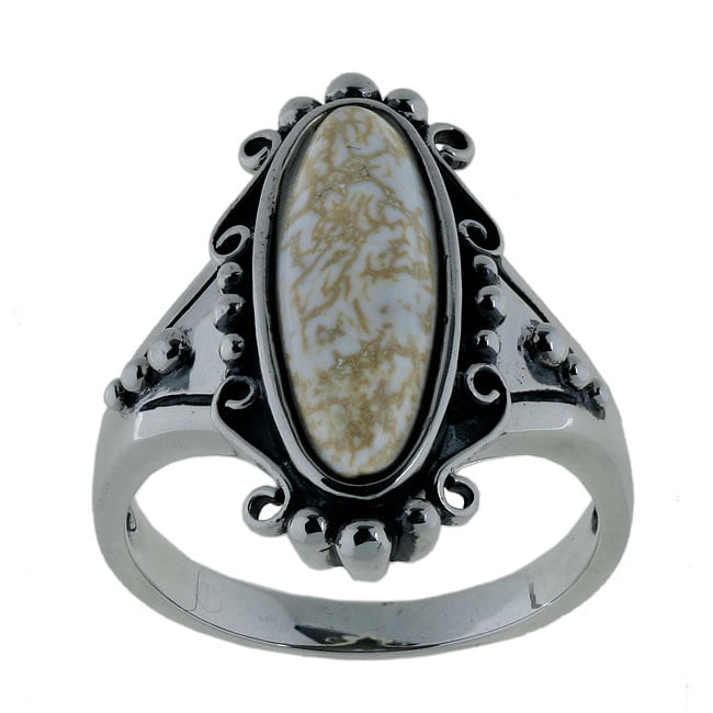 Southwest Moon Sterling Silver Oval Howlite Filigree Ring