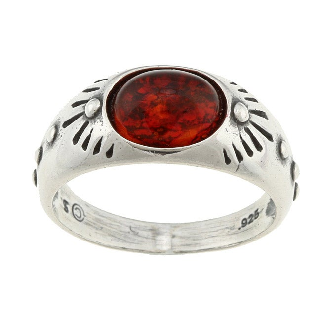 Southwest Moon Sterling Silver Oval Amber Ring