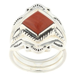 Southwest Moon Sterling Silver Red Jasper Stackable Rings (Set of 3)