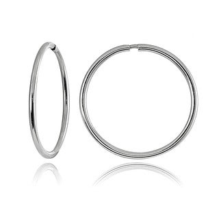 Mondevio 10k White Gold 16-mm Endless Hoop Earrings