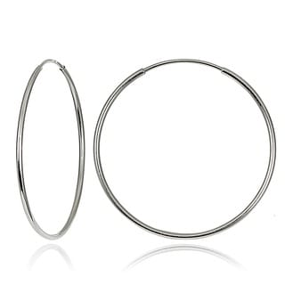 Mondevio 10k White Gold 20-mm Endless Hoop Earrings