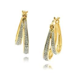 18k Gold over Silver Diamond Accent Double Hoop Earrings