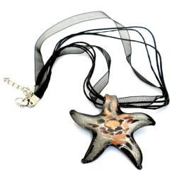 Lampwork Silver Glass Starfish Ribbon Necklace (China)