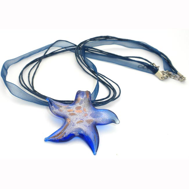 Lampwork Blue Glass Starfish Ribbon Necklace (China)
