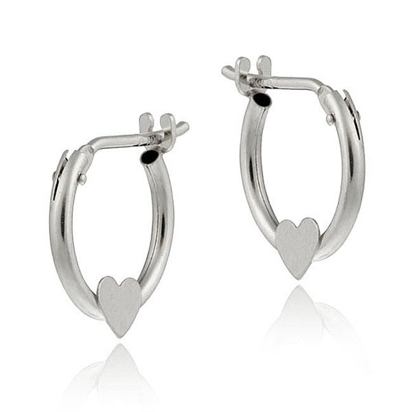 Mondevio 10k White Gold Mini Heart Hoop Earrings