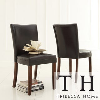 Tribecca Home Jeremy Dark Brown Faux Leather Dining Chairs (Set of 2)
