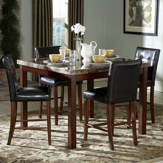 TRIBECCA HOME Keith Faux Marble 5-piece 48-inch Cherry Dining Set