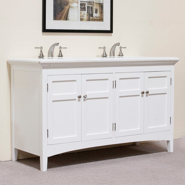 60 inch malibu pure white double sink bathroom vanity with carrara