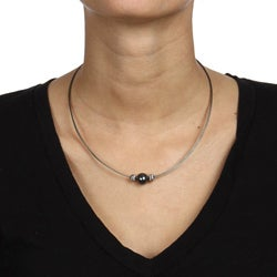 Kabella Kabella Sterling Silver and Stainless Steel Black Freshwater Pearl Necklace (10-11 mm)