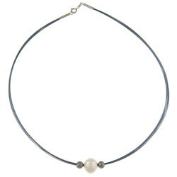 Kabella Kabella Silver and Blue Steel White FW Pearl Necklace (10-11 mm)