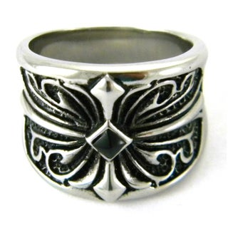 Stainless Steel Men's Black Cubic Zirconia Gothic Scroll Cross Ring