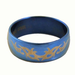 Stainless Steel Men's Blue Tribal Ring