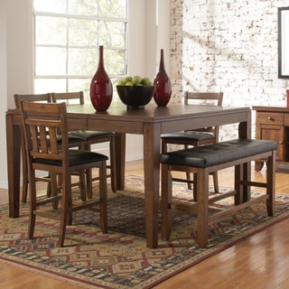 Tribecca Home Kai Oak Brown Casual 6-piece Counter Height Dining Set