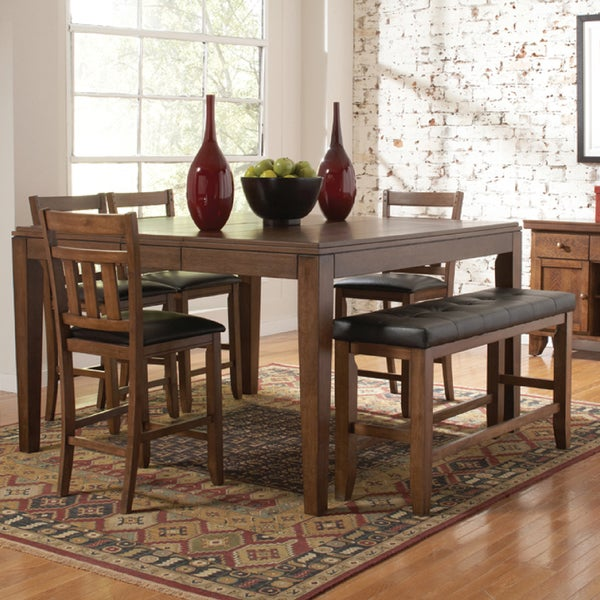 TRIBECCA HOME Kai Oak Brown Casual 6-piece Counter Height Dining Set