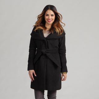 Tahari Women's Charcoal Size 8 Wool-blend Shawl Collar Belted Coat