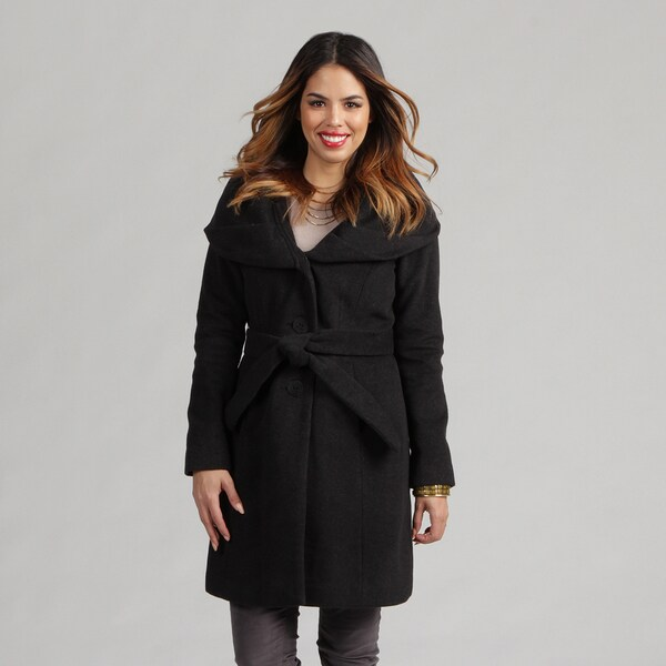 Tahari Women's Charcoal Size 8 Wool-blend Shawl Collar Belted Coat