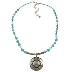 Crystale Silvertone Turquoise Bead Necklace