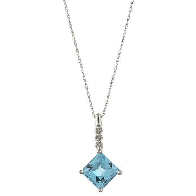 Sofia 14k White Gold Blue Topaz and Diamond Accent Necklace