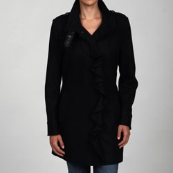 Tahari Women's Black Wool-blend Ruffle-front Military Coat