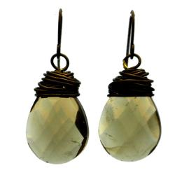 Bronze Teardrop Smoke Crystal Wire Wrap Earrings (China)