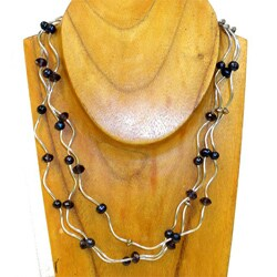 Silverplated Curley Beads Pearl and Crystal Necklace (3 mm) (China)