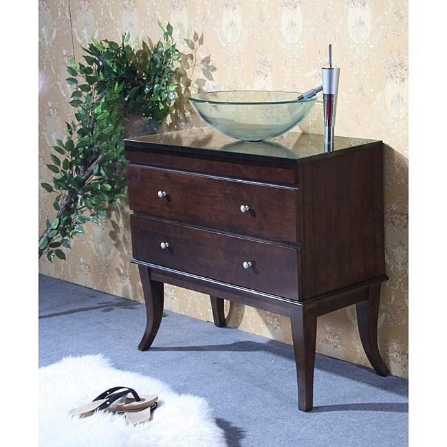 Granite Top 40-inch Single-sink Glass Bowl Bathroom Vanity
