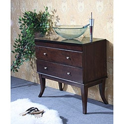 Granite Top 40-inch Single-sink Glass Bowl Bathroom Vanity