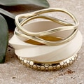 Set of 3 Brass and Wood Golden and White Skies Bangle Bracelets (India)