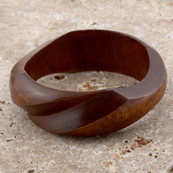Mango Wood Brown Twist Bangle Bracelet (India)