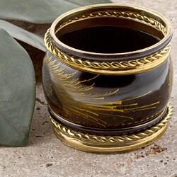 Set of 7 Brass Black and Gold Evolution Bangle Bracelets (India)