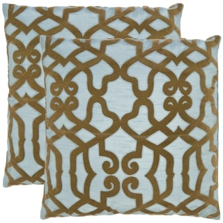 Safavieh Morocco 18-inch Blue/ Brown Decorative Pillows (Set of 2)
