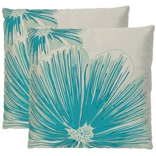 Safavieh Botanical 22-inch White/ Blue Decorative Pillows (Set of 2)