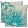 Botanical 22-inch White/ Blue Decorative Pillows (Set of 2)