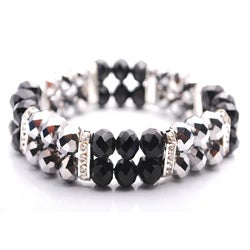 Bleek2Sheek Jet Black and Steel Crystal and Rhinestone Stretch Bracelet