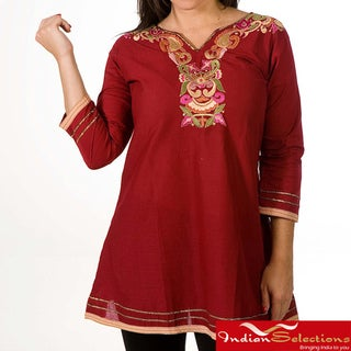 Women's Cotton Red Embroidered Kurti/ Tunic (India)