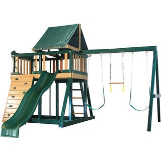 Congo Series Monkey Playsystem #1 Green Maintenance and Splinter Free Swing Set