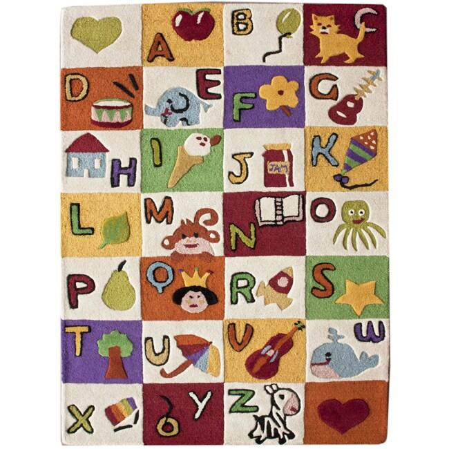 kids alphabet rug nuloom hand carved kids alphabet multi wool rug 3 6 x 5 6