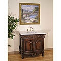 White Marble Top 36-inch Single-sink Bathroom Vanity