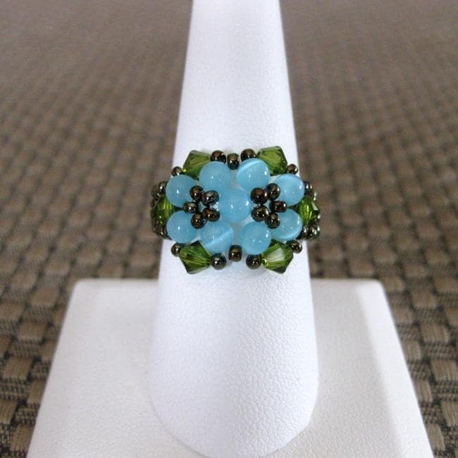 Crystal Pretty Blue Beaded Flower Ring