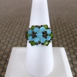 Crystal Pretty Blue Beaded Flower Ring (USA)