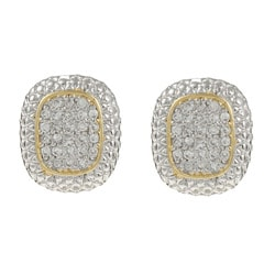 La Preciosa Sterling Silver Two-Tone Cubic Zirconia Earrings