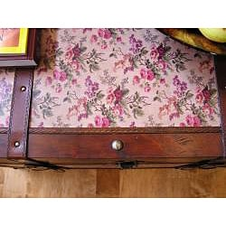 Savannah Medium Floral Canvas Wooden Chest Steamer Trunk