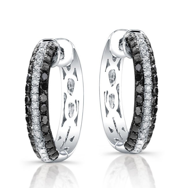 Sterling Silver 1/3ct TDW Black and White Diamond Hoop Earrings (J, I2-I3)
